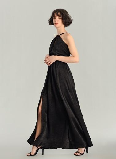 Agenda Askılı Saten Maxi Elbise Siyah